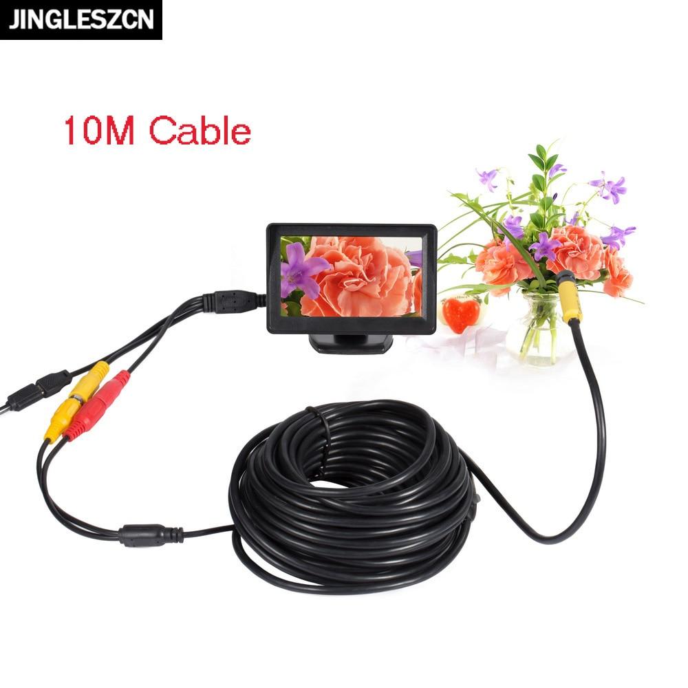 "JINGLESZCN AV Endoscope 5V 10mm Dia 1m 5m 10m 15m 20m Borescope Inspection Camera 6 LED with 4.3"" TFT LCD Color Monitor Display"
