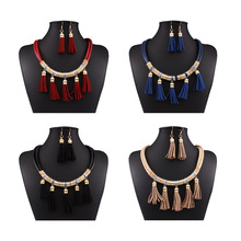 Indian Jewelry Real Parure Bijoux Femme African Beads Jewelry Set Sale 2019 New Necklace Tassel European And American Fashion