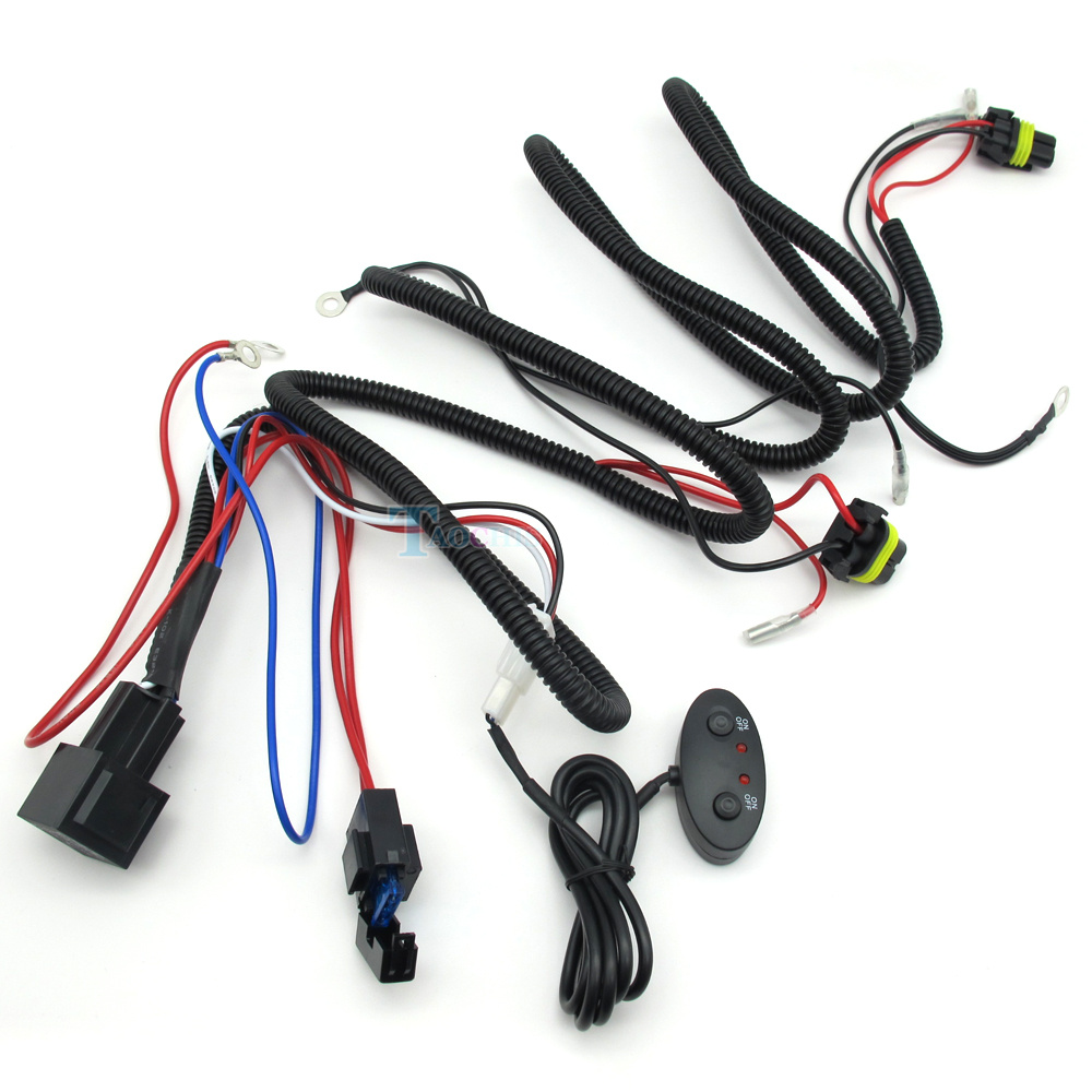TAOCHIS 12V 24V 35W 55w 10A 15A Wiring Harness Controller Including High Low Beam Switch For aliexpress com buy taochis 12v 24v 35w 55w 10a 15a wiring 12v/55w wiring harness controller at eliteediting.co