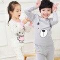 Inverno quente crianças pijamas set boy vestuário set meninas dos desenhos animados sleepwear criança roupas para o sono 3-12Y bebê de manga comprida sleepwear