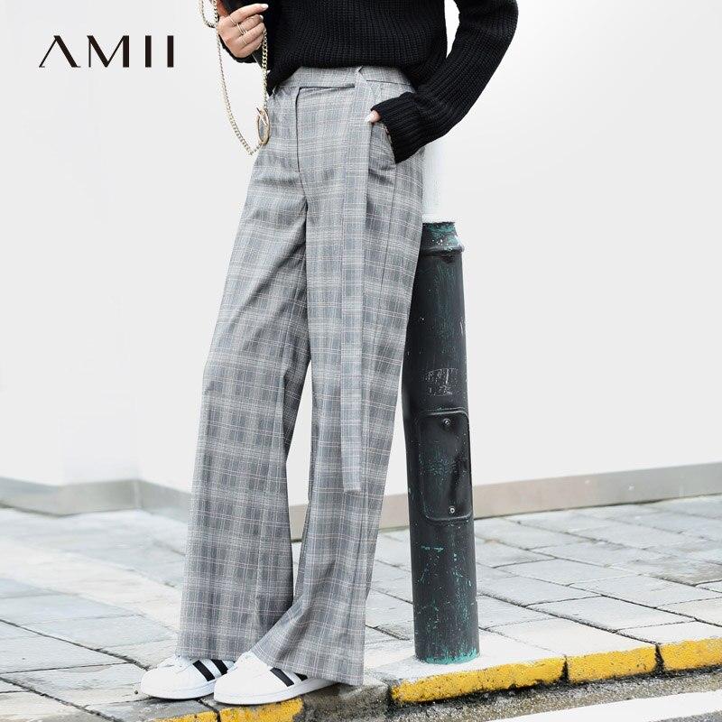 Amii Minimalism Vintage Plaid   Wide     Legs     Pants   Women 2019 Casual High Waist Adjustable Waist Zipper Fly Ankle-Length   Pants