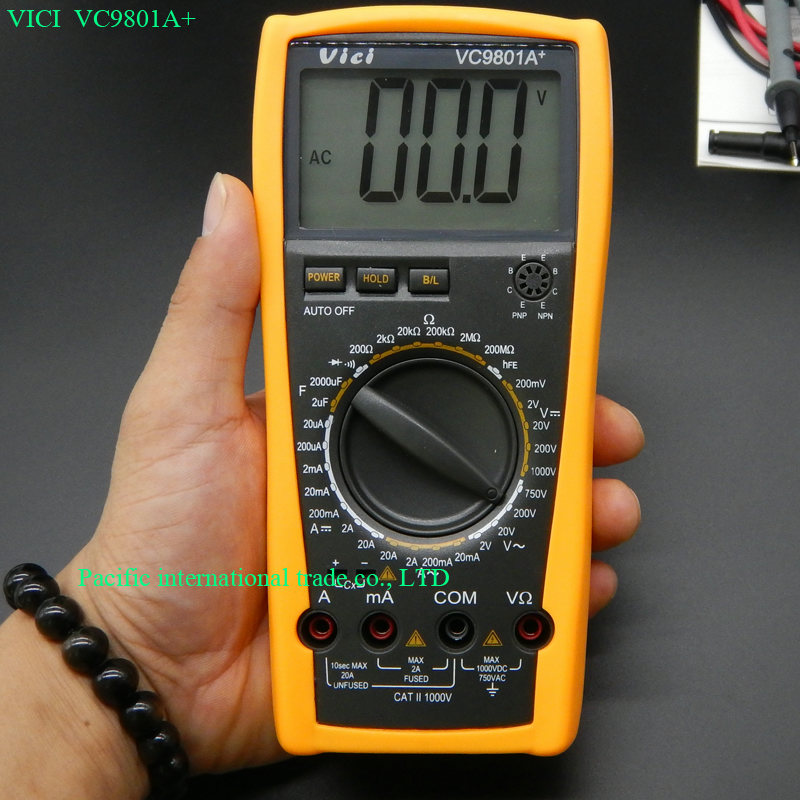 Digital Multimeter Vici VICHY VC9801A+ DMM AC/DC Ammeter Voltmeter Ohmmeter w/ Capacitance HFE Test & LCD Back light brand new 6es7212 1bb23 0xb8 with free dhl ems