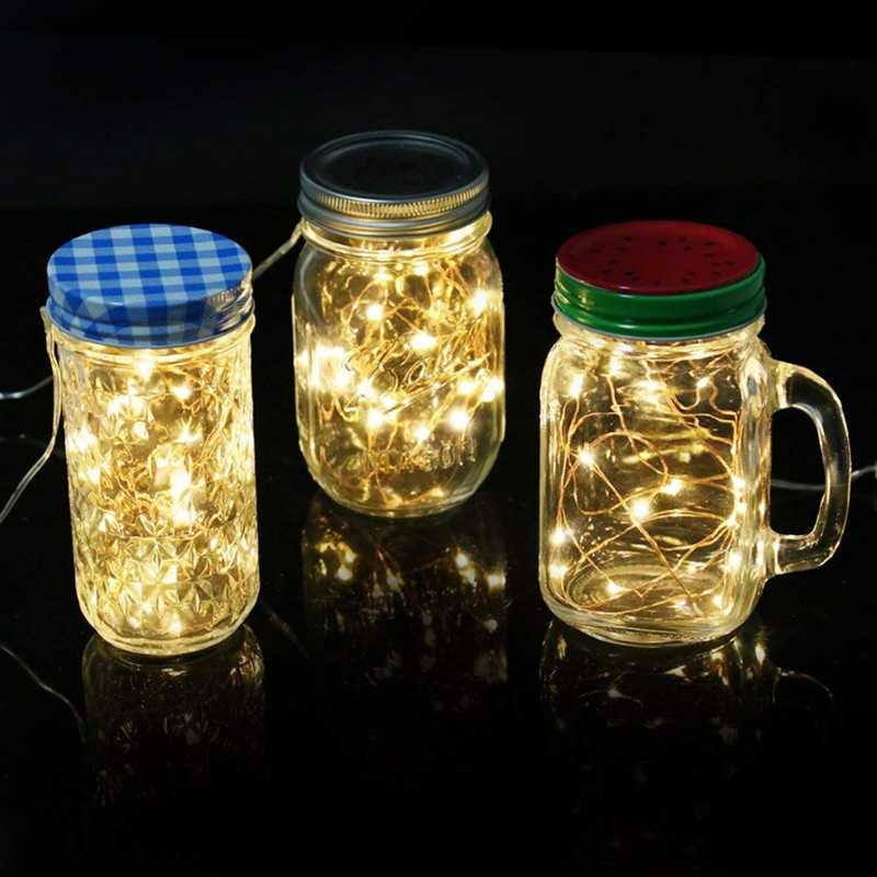1M 2M LED Copper Wire Warm White String Light Battery Mini Decorative Lights for Valentines Wedding Romantic Decoration