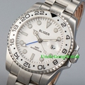 43mm Bliger Mens GMT Automatic Watch White Dial Rotatable Bezel WristWatch Sapphire Glass SS Bracelet Clock BA4304SWW