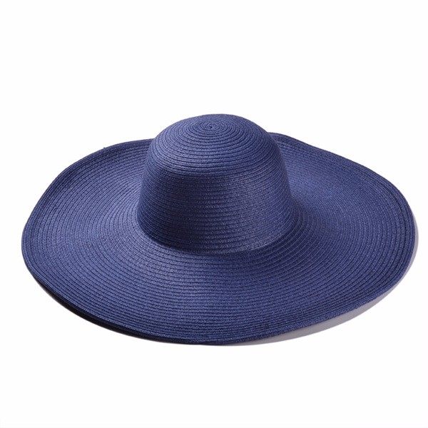 Wide Brim solid color Sun Hat For Women Summer Straw Hats Floppy Beach Hat  Ladies outdoor Hats black white blue 1d438e39716
