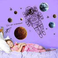 DIY Space Astronaut Wall Stickers Bedroom Study Room Living Room Background Home Decorative Wall Stickers