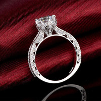 Micro Hollow Flower Female Stars Ring Embedded Simulation And Zircon A Marriage Proposal