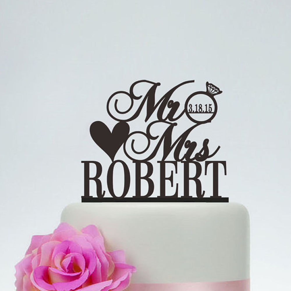 Free Shipping Personalized MR MRS Diamond Wedding Cake Topper Wedding Decoration Custom Wedding Last name and date Cake Topper