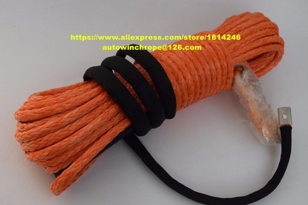 Bonne qualité 10mm * 30 m orange synthétique treuil corde, atv utv treuil accessoires, hors route corde, bateau treuil corde