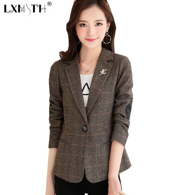 Plaid Women Blazer Casual One Button Blazer Jacket Officewear Notched Collar Ladies Blazers Long Sleeve Pockets Blaser Woman 2XL