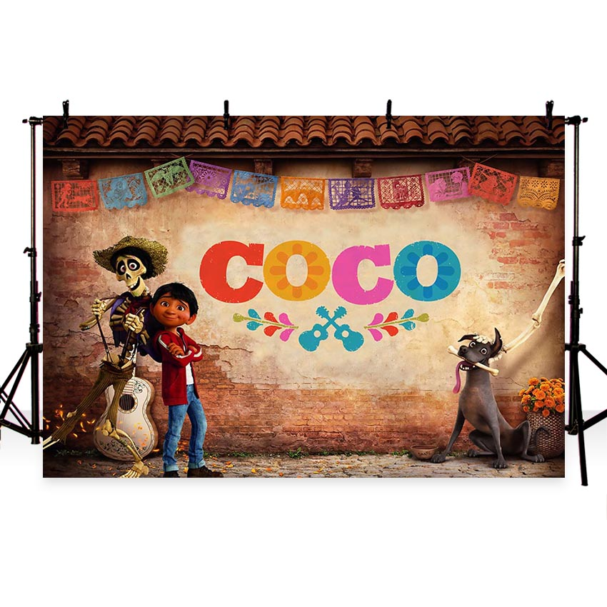 Coco Theme Photography Backdrop Children Birthday Party Decorations Photo Backdrops for Pictures Photo Booth Background allenjoy photography backdrops pink curtains stripes birthday background customize photo booth for a photo shoot vinyl backdrops