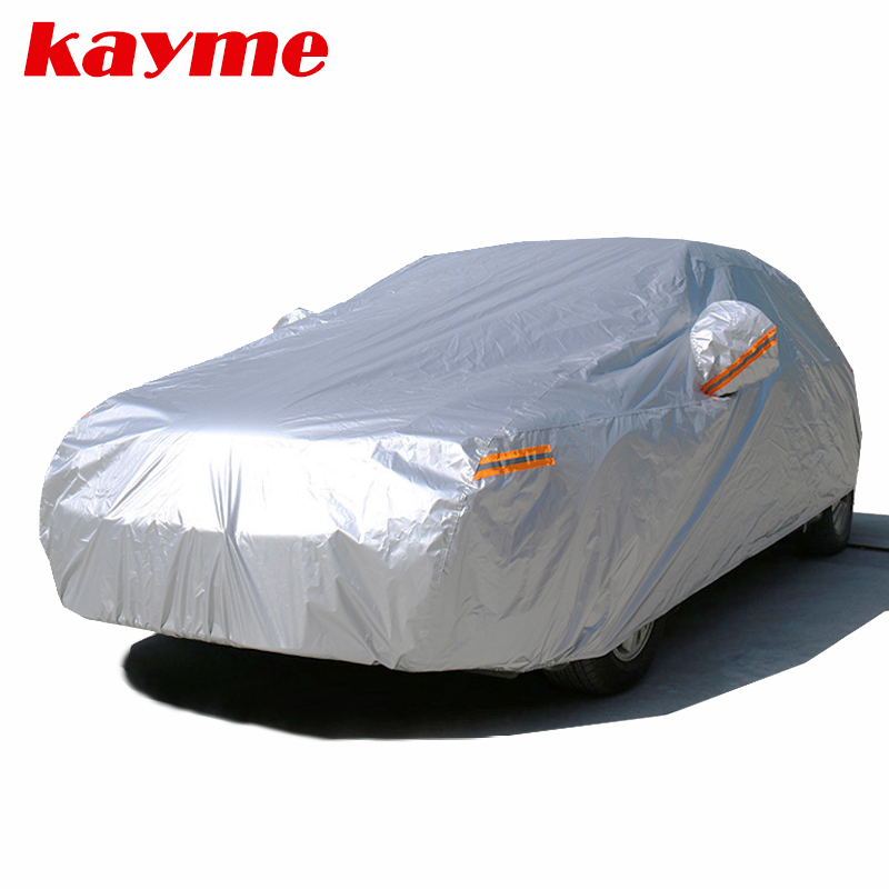 Kayme 210T Waterproof Full Car Covers Outdoor sun uv protection, dust rain snow protective, Universal Fit suv sedan hatchback