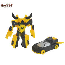 Child Robot Deformable Toy Model Mini Transformers Boy Early Education Puzzle Toy Car Garage Kit Movable Humanoid Robot Car(China)
