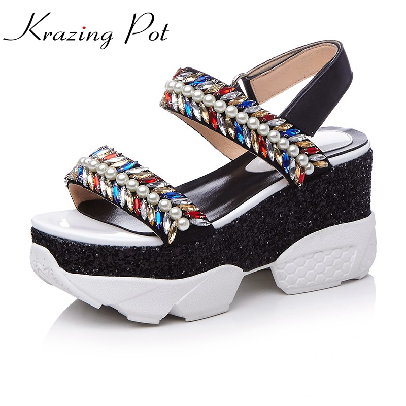 Krazing Pot shoes women platform sandals crystal hook loop full grain leather increased wedges preppy beading summer shoes L66 phyanic 2017 summer women sandals platform wedges sandals hook