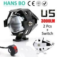 1 PCS 125W 2 Color Motorcycle Motorbike 3000LMW Upper Low Beam Flash CREE U5 LED Driving