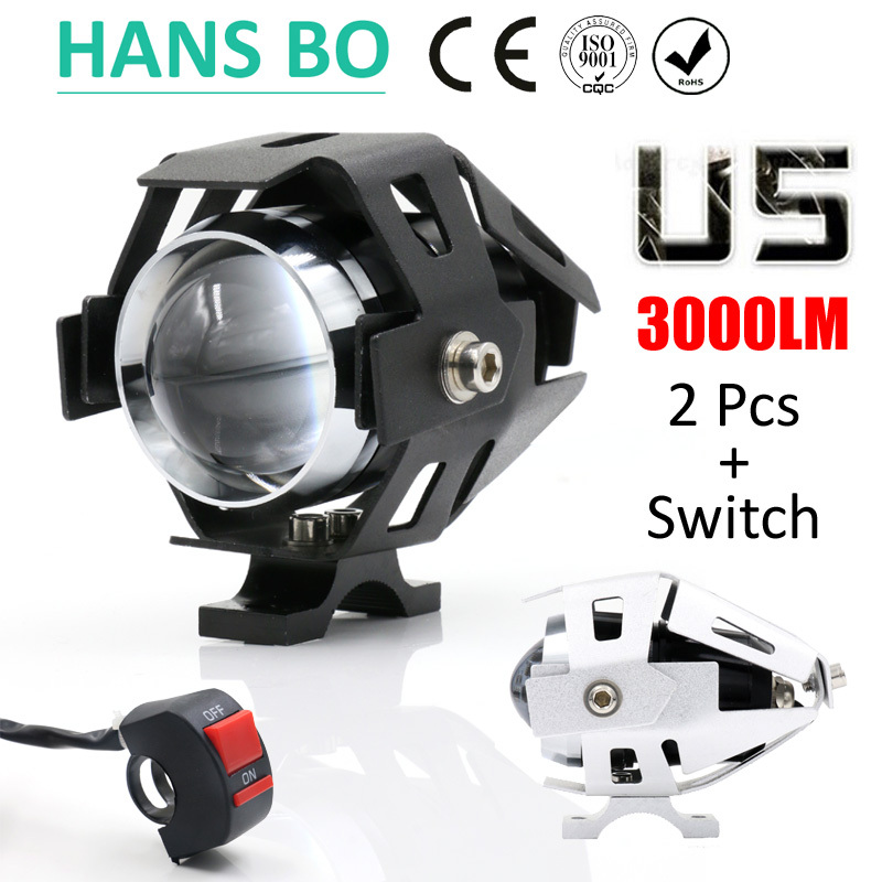 2PCS LYLLA Motorcycle LED Headlight 125W 3000LM U5 Waterproof Driving Spot Head Lamp Fog font b