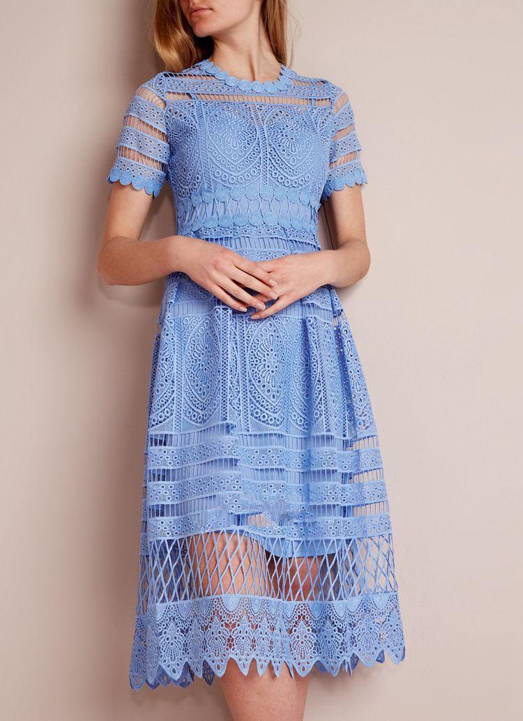 As mulheres Atam o Vestido Designer 2018 Elegante Azul Branco Oco Out Vestidos Midi ...
