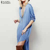 Oversized 2017 ZANZEA Women Casual Loose Dress Elegant Ladies Sexy V Neck Long Sleeve Asymmetric Mini