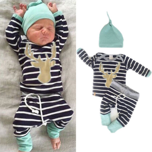 3pcs Newborn Infant Kid Baby Boy Girl Clothes T-shirt Tops+ Striped Pants+Hat Outfits Clothes Set  0-18m