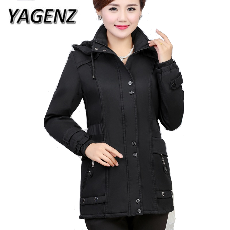 YAGNZ 5XL Middle-aged Women Hooded Jacket Loose Plus Velvet Thick Cotton Overcoat Winter Solid Warm Female Jacket Casual Clothes xl 5xl winter coat women plus size middle aged mother cotton padded clothes casual hooded solid long sleeve parka thick a4263