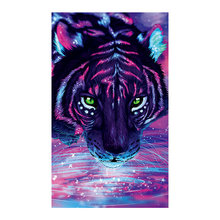 Violet tiger Diamond Painting Partial Round animal New DIY Sticking Drill Cross Embroidery 5D simple Home Decoration