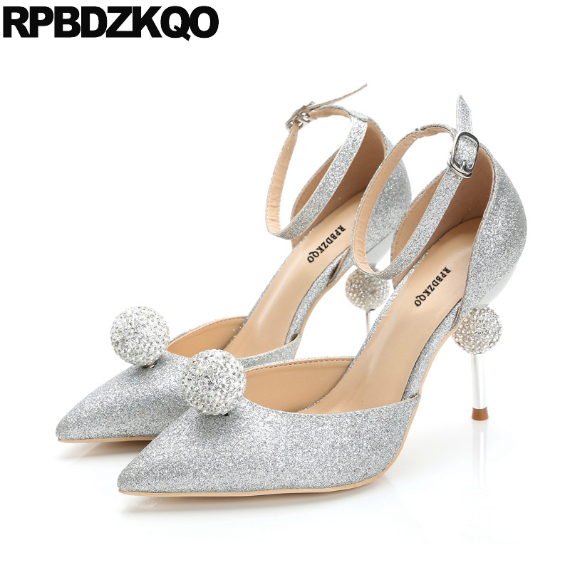 de653a15cfe3 Strap High Heels Scarpin Sparkling Silver Bride Metal Women Ankle  Rhinestone Bling Wedding Shoes Size 33 Pointed Toe Big Summer