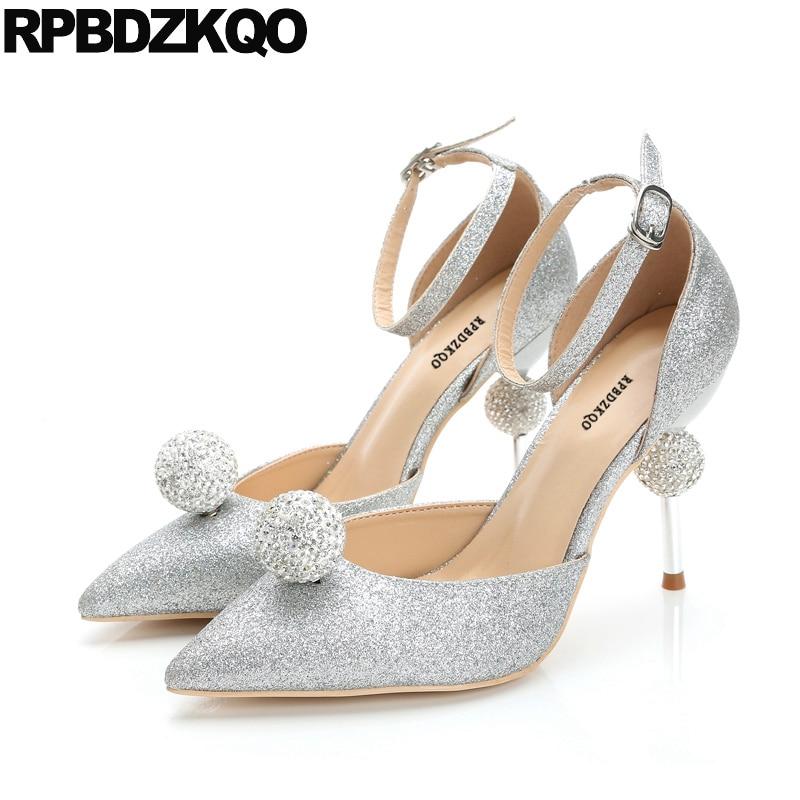Strap High Heels Scarpin Sparkling Silver Bride Metal Women Ankle  Rhinestone Bling Wedding Shoes Size 33 Pointed Toe Big Summer 4b98191b91f1