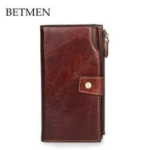 BETMEN Vintage Men Wallets Oil Wax Genuine Leather Wallet Long Purse Designer Brand Clutch Wallet