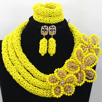 Trendy Yellow Nigerian Crystal Women Beads Jewelry Set African Wedding Bride Necklace Braid Flower For Brides Free Ship QW500