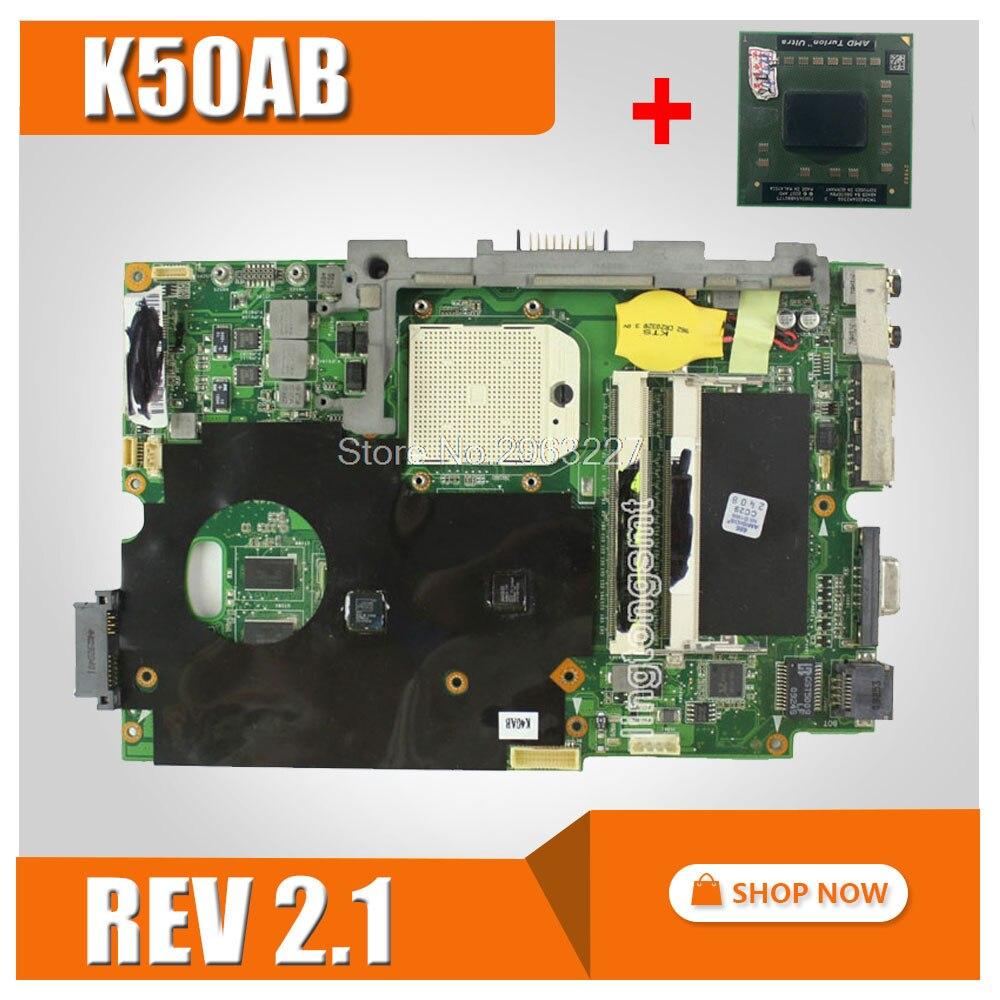 send CPU+K50AB Motherboard REV 2.1 For ASUS K40AB K40AD K40AF K50AD K50AF Laptop motherboard K50AB Mainboard K50AB Motherboard