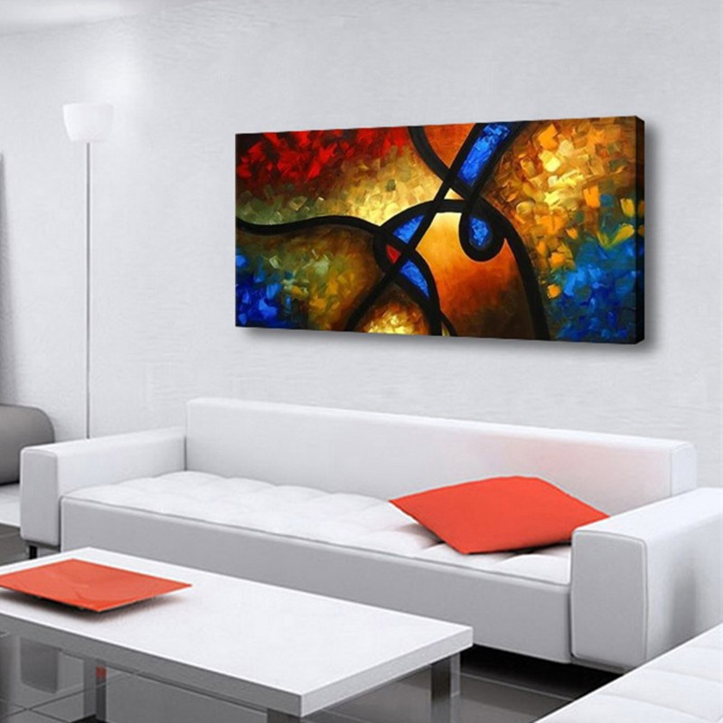 Living Room Abstract Art: Hand Painted Colorful Geometric Oil Painting Handmade