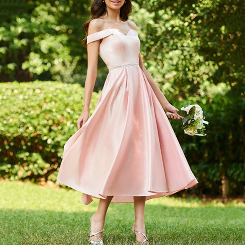 New Arrival Tea Length   Bridesmaid     Dresses   2018 Simple Cap Sleeve Pink Satin Party Gowns Vestido De Festa De Prom   Dress   Plus Size