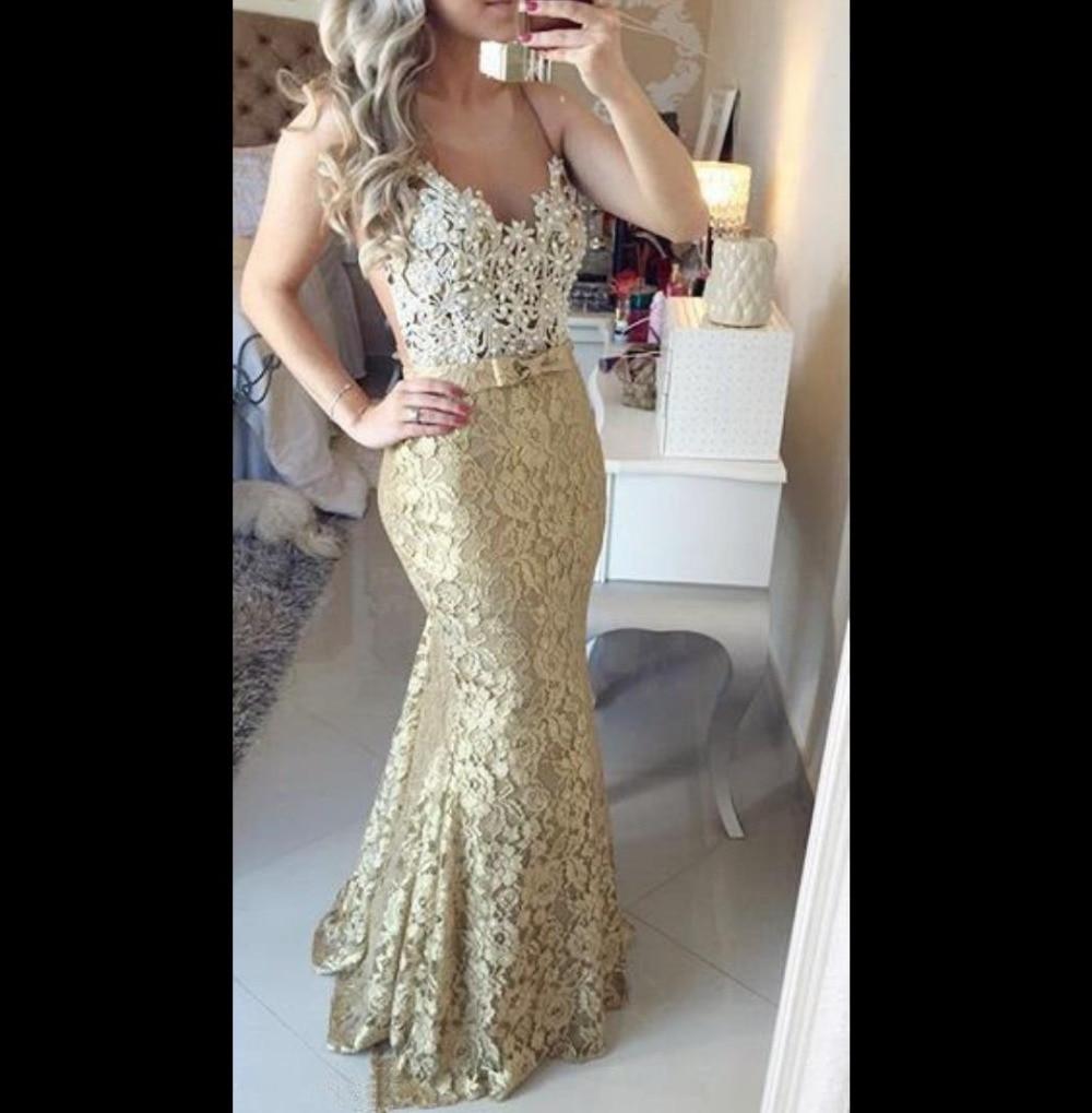 White or gold prom dresses