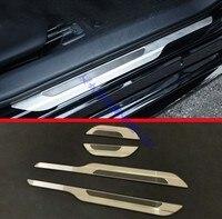 Für 2019 Toyota Corolla E210 Sport Hatch Fließheck Auris Silber draht zeichnung Edelstahl Außerhalb tür sill Protektoren-in Pedale aus Kraftfahrzeuge und Motorräder bei