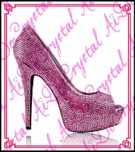 Aidocrystal fuchsia color pure handmade crystal rhinestones italian women high heel shoes for nightclub