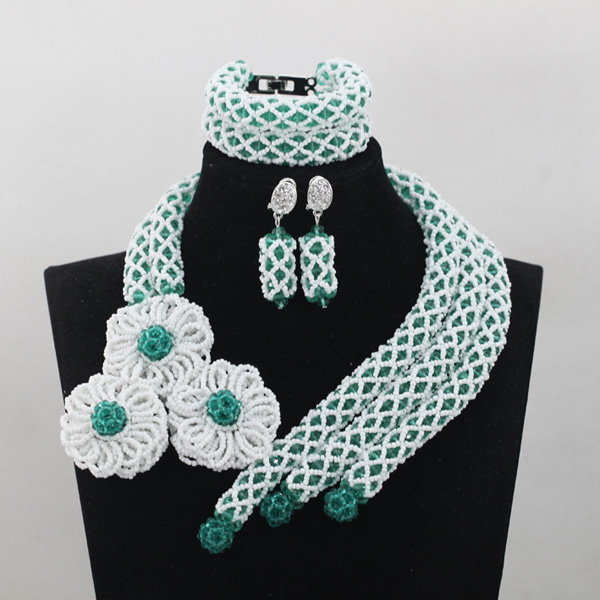 Handmade Green African Wedding Bridal Beads Jewelry Set White Flower Bridal Necklace Bracelet Earrings Gifts Free Shipping QW715