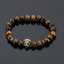 Hot sell Wholesale Leo Lion Head Bracelet Black Lava Stone Beaded Bracelets For Men Women(China)