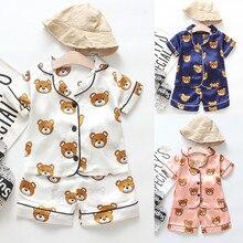 Детские пижамы для маленьких мальчиков и девочек с героями мультфильмов, одежда для сна Детская футболка с принтом+ шорты комплект мягкой летней одежды из 2 предметов