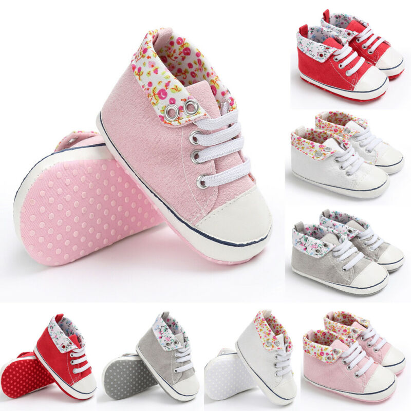 Cute Toddler Kid Sneakers Baby Boy Girl Soft Sole First Walkers Shoes Flowers Print Lace Up Baby Shoes