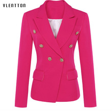 New fashion woman blazer 2019 Spring autumn Solid Double Breasted pocket blazer femme Long Sleeve office coat  jacket female недорого