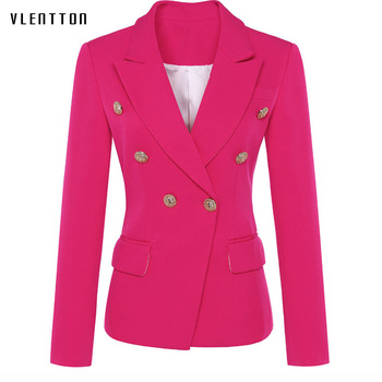 New fashion woman blazer 2019 Spring autumn Solid Double Breasted pocket blazer femme Long Sleeve office coat  jacket female tweed blazer women elegant double breasted office blazer femme fashion black sequin long blazer spring jacket ladies blazer