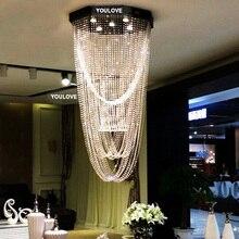 купить Free Shipping LED modern crystal long pendant lights villa dining room parlor hall foyer lobby restaurant stairway pendant lamps по цене 22014.35 рублей
