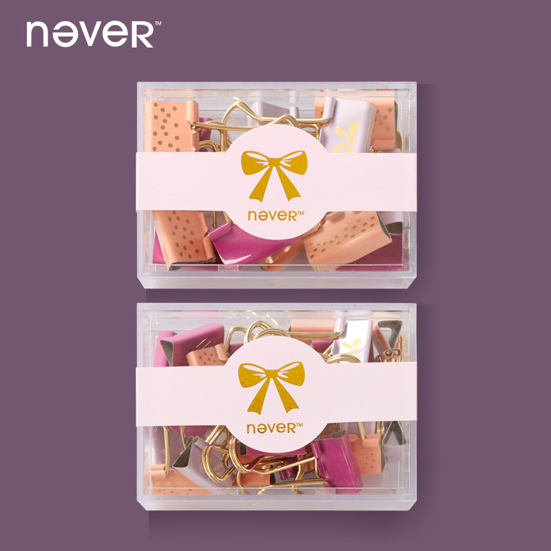 Never Metal Creative Pink Clips 2018 Fashion Stationery Book School Binder Clip Office Accessories Label Folder Stationery Store
