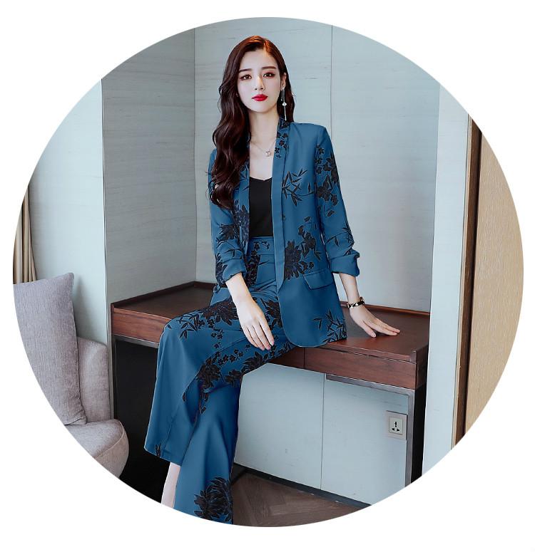 YASUGUOJI New 2019 Spring Fashion Floral Print Pants Suits Elegant Woman Wide-leg Trouser Suits Set 2 Pieces Pantsuit Women 28