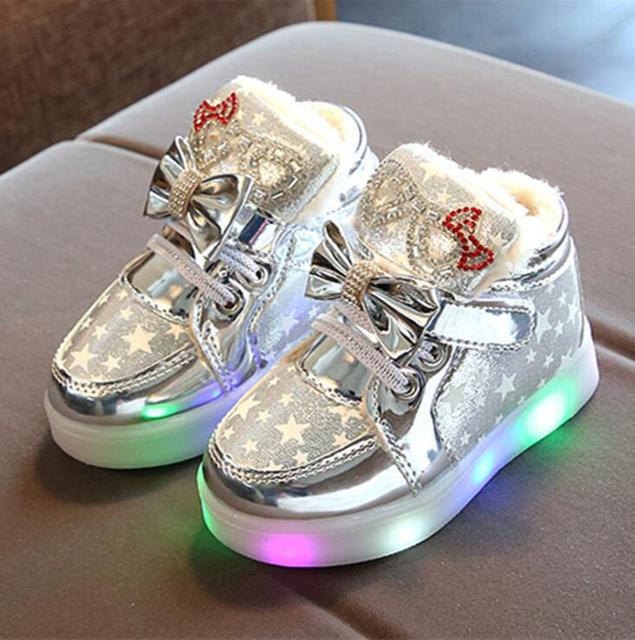 ed1acb8c615b7f Winter Warm Children Cotton Boots LED Light up Glowing Kids Sneakers Good  Quality Baby Boys and Girls Snow Boot
