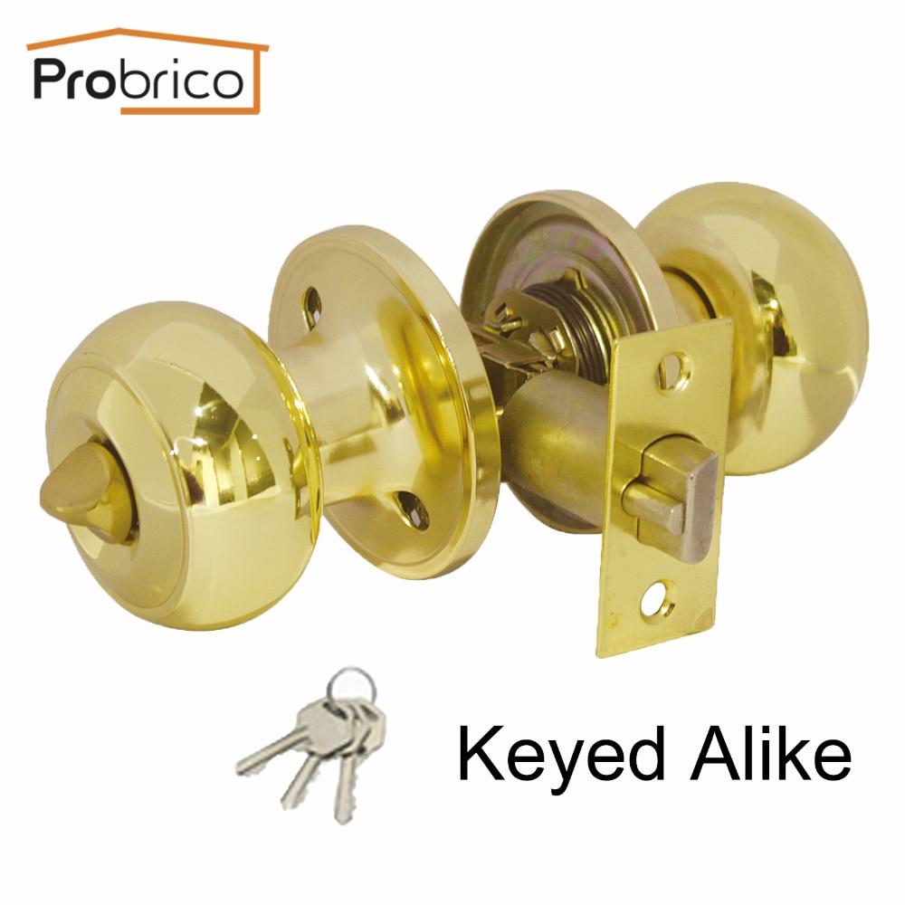 Probrico Stainless Steel Safe Lock Door Lock Keyed Alike Polished Golden Brass Door Handle Entrance Locker DL609PBET Combo