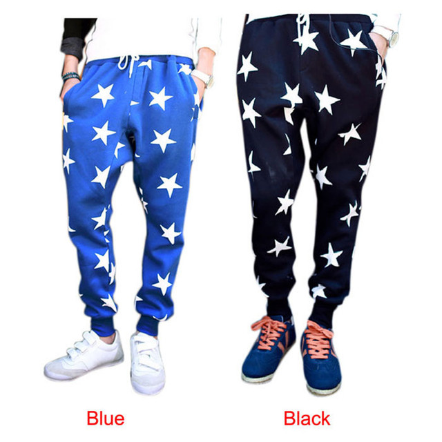 Con estilo 2015 hombres metrosexuales estrellas impresión cruzan colgando entrepierna ocio Wei danza pantalones pantalones