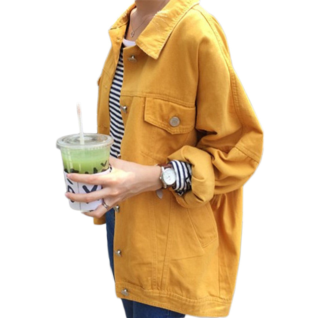 2016 spring autumn new arrival BF harajuku street style denim coat for women candy color bat sleeve student jeans jacket coats