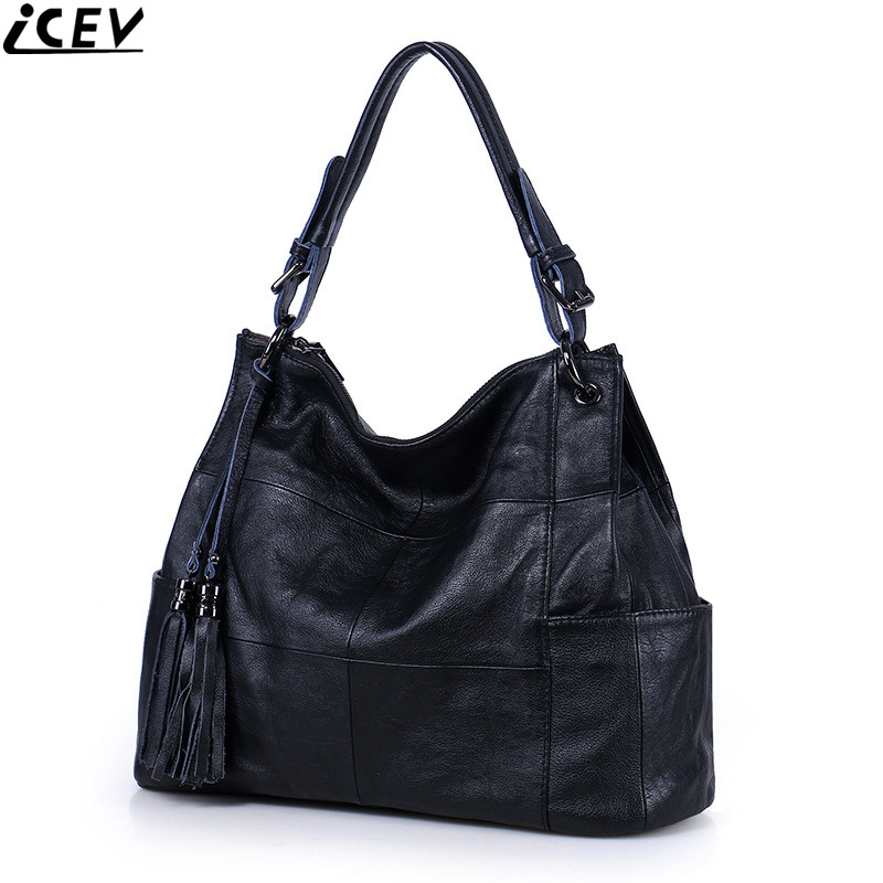 ICEV 2018 new simple casual designer messenger bag large capacity female tote genuine leather bags handbags women famous brands icev famous designer brand women leather handbags large capacity shopping bag high quality big black casual tote bag soft bolsas