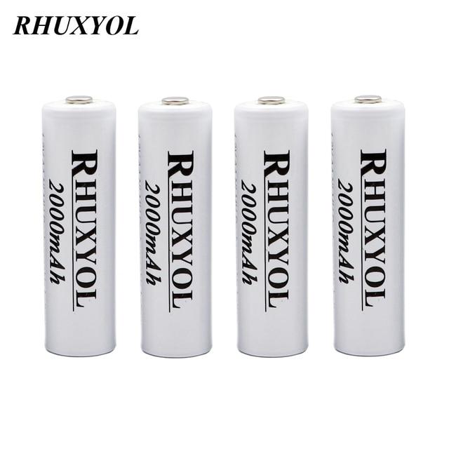 4 PCS rhuxyol 2000 мАч NiMH AA ячейку аккумулятор Перезаряжаемые Батарея Ni-MH 1.2 В 2A baterias recargable ок 2200 мАч VS GP 3000